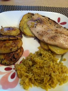 Rosemary and chive talapia with shingled potatoes and herb rice