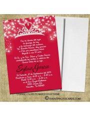 red tiara quince invitations a24 - Quinceanera Invites