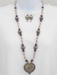Tibetan silver pendant necklace,                garnets, white agates, red heart, tibetan silver balls, beaded, ethnic, tribal, necklace set...