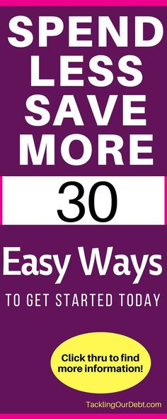Learn how to spend less money so that you can save more money. Here are 30 easy ways to get started. Click thru to learn more! #Finances