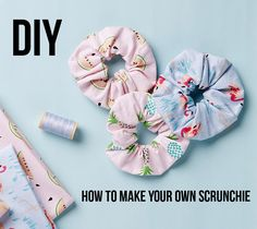 BurdaStyle has a tutorial showing how you can make your own hair scrunchies. They're a fun and useful way to use your fabric scraps! The fabric covered elastic is more comfortable to wear i… Sewing Blogs, Sewing Tutorials, Sewing Projects, Craft Projects, Sewing Patterns, Sewing Diy, Sewing Crafts, Diy Hair Scrunchies, How To Make Scrunchies