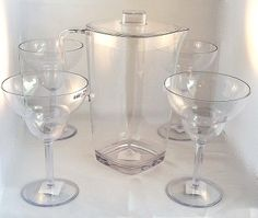 Margarita Set 6 PIece 4 glasses One 2 qt Pitcher wth Lid Zak Designs #ZAKdesigns