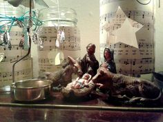 my mum's old nativity figures now atop my piano...