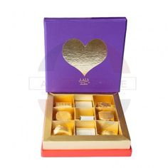 Valentines Purple Medium Box with 7pcs classic & 2pcs heart. Best for sending on this Valentine's day.