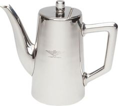 Stainless steel coffee pot with original Italian Air Force surplus imprinted design. Collectible stainless steel coffee pot features old-time heft and mirror-like finish.