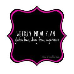 Vegan, gluten free meal plan for the week