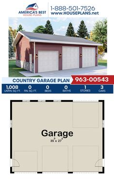 Plan 963-00543 offers a Country garage with 1,008 sq. ft. for 3 cars. #garage #garageplans #architecture #houseplans #housedesign #homedesign #homedesigns #architecturalplans #newconstruction #floorplans #dreamhome #dreamhouseplans #abhouseplans #besthouseplans #newhome #newhouse #homesweethome #buildingahome #buildahome #residentialplans #residentialhome