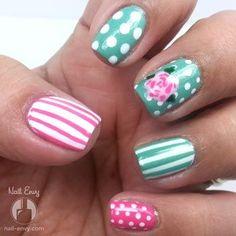 Pink and Aqua Nails by Nail Envy