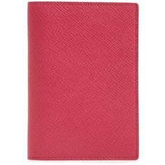 Women's Smythson Panama Calfskin Leather Passport Holder (605 AED) ❤ liked on Polyvore featuring bags, luggage and fuchsia