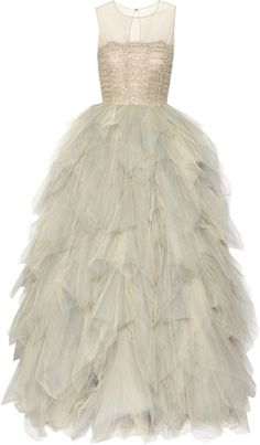 Oscar de la Renta sand and stone gown. Embroidered Tulle Gown