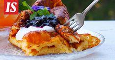 Ruokabloggaaja Tiina Varjuksen reseptillä pannukakku kohoaa kauniisti ja siinä on pientä, mukavaa rapeutta.
