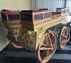 Here comes a stunningly carved, animal drawn carriage!  #Animal #Carriage #Vintage #Transport #HTM