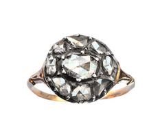 Late 1700's Georgian Rose Cut Diamond Cluster Ring, Silver, 9K $4950.00