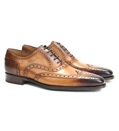 Matteo Massimo Wing Tip Dress Shoe $275 | Be sure to match your belt to the burnished, cognac-coloured leather, and try coloured laces for an extra dose of style. | GOTSTYLE.ca