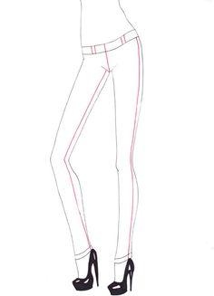 How to draw skinny jeans step 3