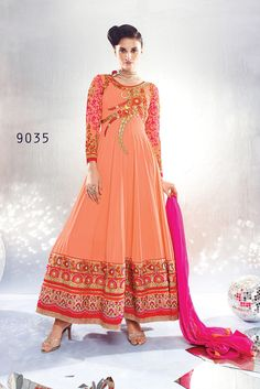 Be a shows stopper on every occasion by cladding into this fascinating festive wear designer anarkali salwar suit. This orange color semi-stitched anarkali suit