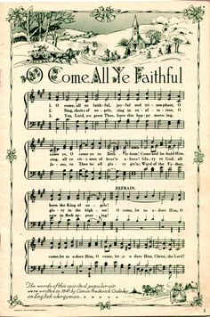 This site has several old pages of sheet music of Christmas Carols for print. These are great for sheet music wreaths, patchwork ornaments, sheet music trees etc... http://www.flickr.com/photos/pemq/6299486747/in/pool-1032419@N22/