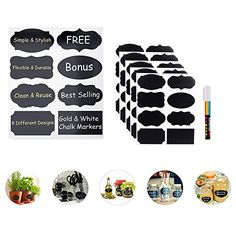 Premium Stickers Chalkboard Labels with Liquid Chalk Mark...