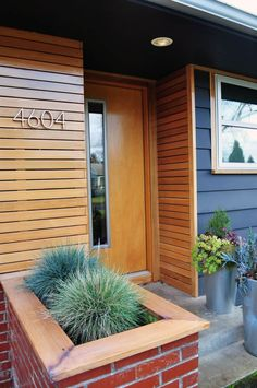 Magnificent Wood Siding vogue Portland Midcentury Entry Decoration ideas with brick planter cedar concrete paving design build facade design front stoop grasses horizontal slat Architecture Design, Facade Design, Exterior Design, Paving Design, Screen Design, House Paint Exterior, Exterior Siding, Diy Exterior, Bungalow Exterior