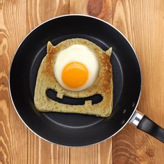 Our freaking awesome Egg Monster Toast Cutter makes breakfast scary-good!  This fun little gadget (scare assistant) forms a perfectly-shaped toast frame, just the right size to fry up an egg!