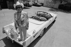 Nudie Cohn, the Hollywood tailor who made elaborate, often garish, western-style suits for musicians like Elvis & George Jones, also customized cars (like this Cadillac) with rhinestones, guns, silver dollars and bull horns.