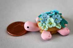 Pink Turtle with flowers on its shell ornament by Onlymiracles, €5.00