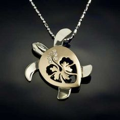 Turtle Hibiscus Pendant  - Diamond Large - Turtle Jewelry by Baytowne Jewelers, Destin FL
