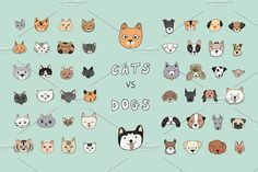 CATS vs DOGS animal art avatar background bernard cartoon cat character chihuahua clipart collection comic cute dalmatian design dog doodle drawing emoji face for kids fun funny graphic happy head icon illustration isolated kitten labrador line mascot mood pet poodle portrait print puppy retriever set shape sign sticker symbol terrier textile vector whiskers white seamless pattern outline
