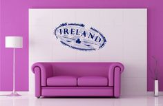 Wall Vinyl Decals Travel Trip Seal Stamp IRELAND Logo Emblem Sticker Art Home Modern Stylish Interior Decor for Any Room Housewares Murals Design Window Graphic Bedroom Living Room (2541) - - Amazon.com