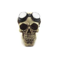 Caveira Crânio Óculos Motociclista Largura x Altura x Profundidade: 10 x 12 x 13,5 cm Peso: 200 g Material: resina Acabamento: colorido Origem: Ásia