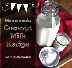 Homemade Coconut Milk-Homemade coconut milk from shredded coconut for a healthy and inexpensive milk alternative from WellnessMama.com #coconut #milk #wellnessmama