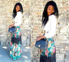 flower maxi and white button up -- classic  mixed with boho