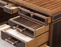 Secret drawers are one of the most challenging features to include in a piece of furniture. Bespoke Furniture, Luxury Furniture, Modern Furniture, Furniture Design, Joinery Details, Wood Joints, Country House Hotels, Cupboard Storage, Furniture Inspiration