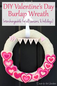 This DIY Valentine's Day burlap wreath is so cute! It's an interchangeable wreath, so you can swap out the accessories every holiday without buying a new wreath! It even includes a free printable heart template for Valentine's Day crafts and projects! Diy Valentines Day Wreath, Valentine Day Crafts, Valentine Decorations, Holiday Crafts, Holiday Ideas, Burlap Wreath Tutorial, Diy Wreath, Burlap Wreaths, Printable Heart Template