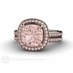 Cushion Morganite Wedding Set Diamond Halo Engagement Ring Rose Gold