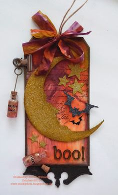 That's Life: 'Tis Near Halloween. Tim Holtz 12 Tags of 2013 Crescent Moon & Stars Die Halloween Paper Crafts, Halloween Tags, Halloween Projects, Holidays Halloween, Halloween Decorations, Purple Halloween, Halloween Scrapbook, Halloween Ornaments, Halloween 2018