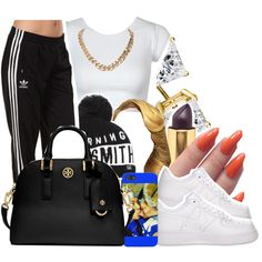 A fashion look from November 2014 featuring adidas Originals activewear pants, NIKE shoes and Tory Burch handbags. Browse and shop related looks.