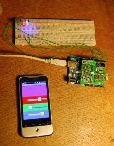 Amarino, android device controlling a multicolor led lamp