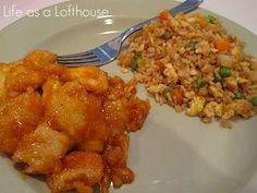 Baked Sweet and Sour Chicken & Fried Rice    The chicken coating:      3-4 boneless chicken breasts  salt + pepper   1 cup cornstarch  2 eggs, beaten  1/4 cup canola oil      The sweet and sour sauce:      3/4 cup sugar  4 tbs ketchup  1/2 cup distilled white vinegar  1 tbs soy sauce  1 tsp garlic salt         Start by.....