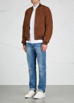 LZ6 two-tone suede bomber jacket