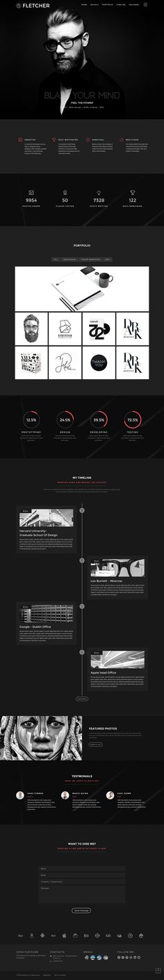 'Fletcher' is a One Page HTML template that aims to provide a portfolio layout for an individual. Features include a sticky header, off-canvas navigation, slick Revolution Slider, statistics, lightbox portfolio with category filter (ie. Isotope filtered with a Masonry layout), client logos, testimonials and quite a neat CV timeline feature.