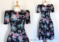 Vintage 1980's Dress / Black Floral Chintz / by DuncanLovesTess, $58.00