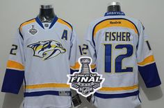 Predators #12 Mike Fisher White Road 2017 Stanley Cup Final Patch Stitched NHL Jersey