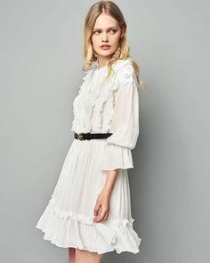 White Frilled Shirt Dress by Glamorous