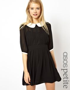 Image 1 of ASOS PETITE Exclusive Skater Dress With Lace Inserts And Contrast Collar