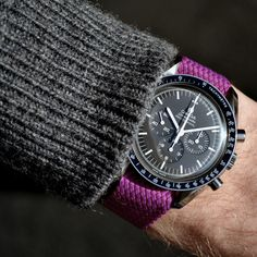 The all new purple Perlon watch strap - a pop of colour with the grey wool.