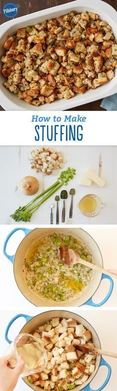 How to Make Stuffing: Move over, turkey. Stuffing could be this year's main event! We'll teach you the basics of how to make stuffing and make it really well. Plus, a few of our best stuffing recipes for Thanksgiving! Thanksgiving Food, Turkey Stuffing Recipes Thanksgiving, Easy Stuffing Recipe, Baked Stuffing, Stuffing Casserole, Making Stuffing, Stuffing Seasoning, Poultry Seasoning, Thanksgiving Recipes Make Ahead