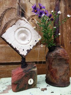Garden Style Sculpture w/ Rosette and brick fragment base, antique pearl button and hand wrapped wire, Architectural Salvage with a twist..