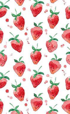 Pattern Design Vintage strawberry watercolor wallpaper Pattern DesignSource : Vintage strawberry watercolor wallpaper by yurdanurolcay Cute Backgrounds, Cute Wallpapers, Wallpaper Backgrounds, Iphone Wallpapers, Red Wallpaper, Compass Wallpaper, Summer Wallpaper, Modern Wallpaper, Print Wallpaper