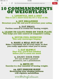 10 Commandments to weight loss